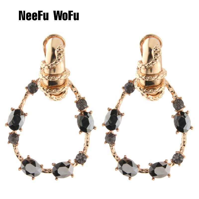 NeeFu WoFu Stone Water Drop Earrings Zine Alloy Brand Rhinestone Big  Earring Large Brinco Ear Christmas cc6f2e3983e1