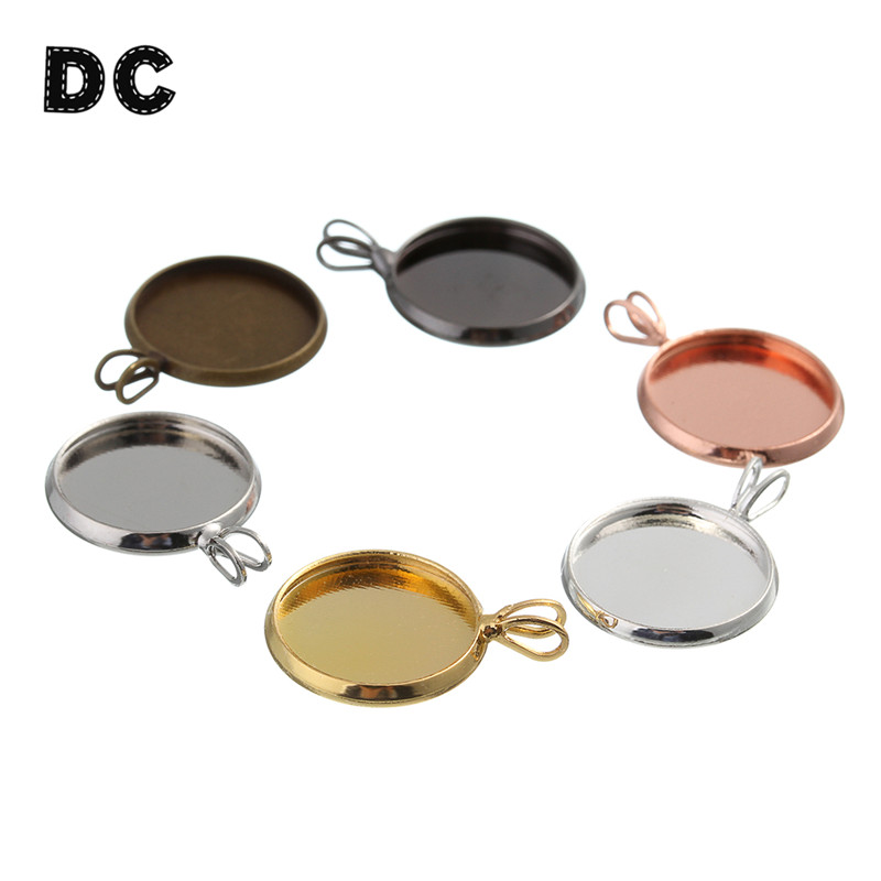 10pcs Copper Necklace Charms Pendant Base Setting Blank Tray Bezel Fit 12mm 18mm 20mm Round Cabochon DIY Findings Components