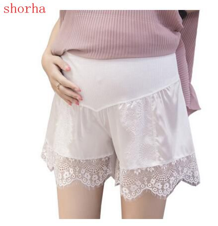 Summer Elastic lace Waist Care Belly Maternity Shorts Cotton Linen Candy Color Pants For Pregnant Women Plus Size Shorts M-2XL
