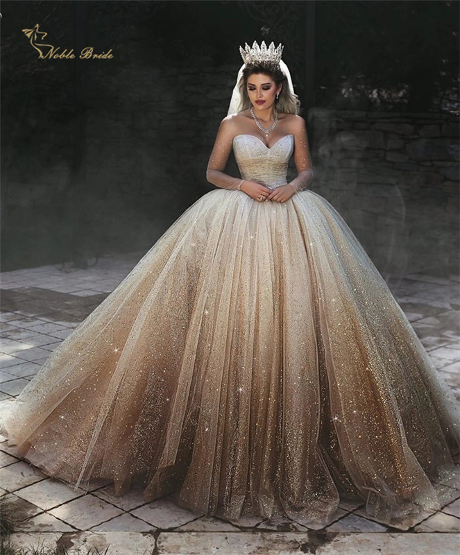 Luxury Bling Bling Wedding Dress Bridal Gown Sweetheart Sleeveless Queen Style Dubai Bridal Ball Gowns
