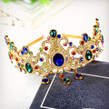 Colorful rhinestone crystal gem pendants tiaras bridal crown baroque vintage golden hair hoop women hair accessories