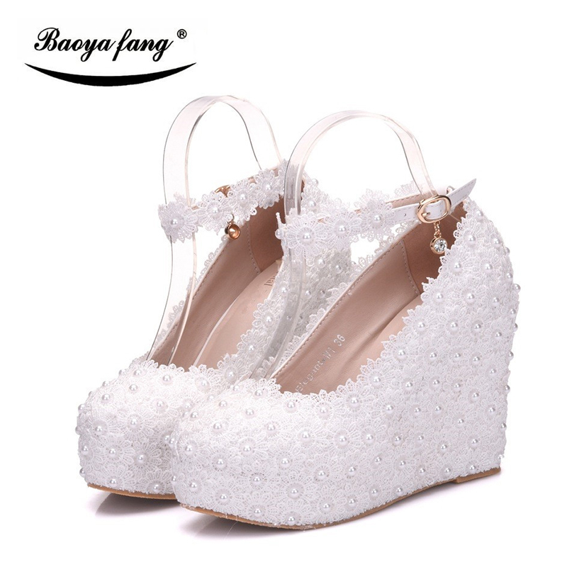 New arrival 10cm wedges Women wedding shoes High heels ladies Pumps round Toe woman Wedges party dress shoes 2018 new arrival women brand shoe super high heels slip on tassel superstar party woman pumps round toe casual wedding shoes l07