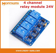 Free Shipping 10pcs/lot 24V 4 channel relay module opto-isolator module control board for arduino PIC ARM DSP AVR Raspberry Pi