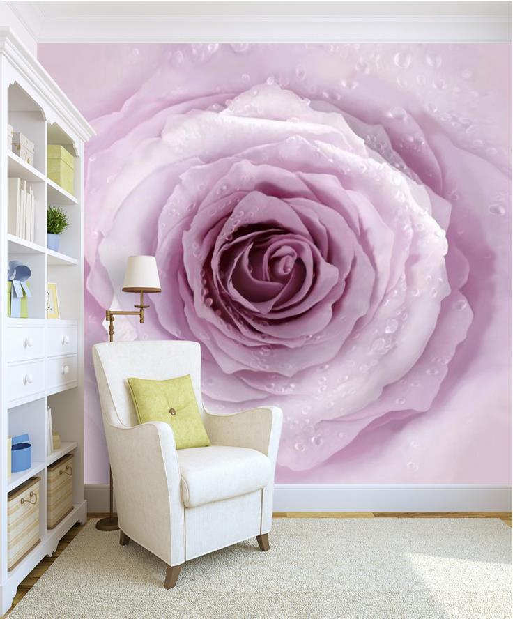 Kustom Foto Wallpaper 3D Stereoscopic Sederhana estetika Ungu merah muda mawar Latar Belakang TV 3D Mural
