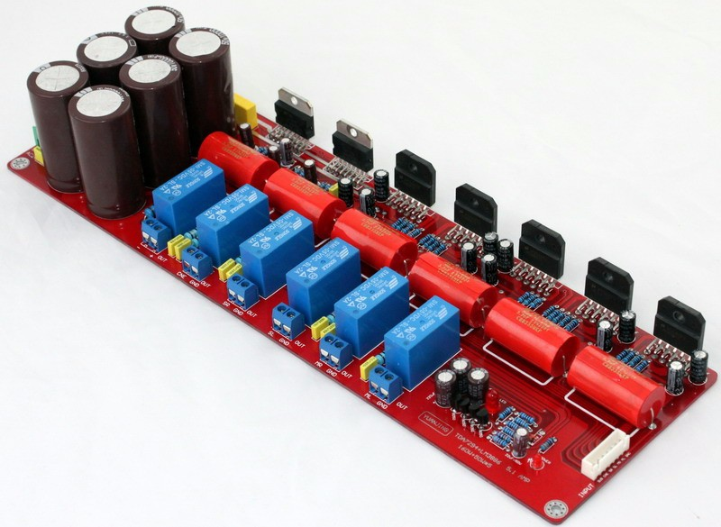 Free shipping YJ dual 24VAC-0-24VAC TDA7294 + LM3886 5.1 channel power amplifier board 5*50W(4 ohm)+160W(8 ohm) tda7294 lm3886 5 1 channel pure power amp board