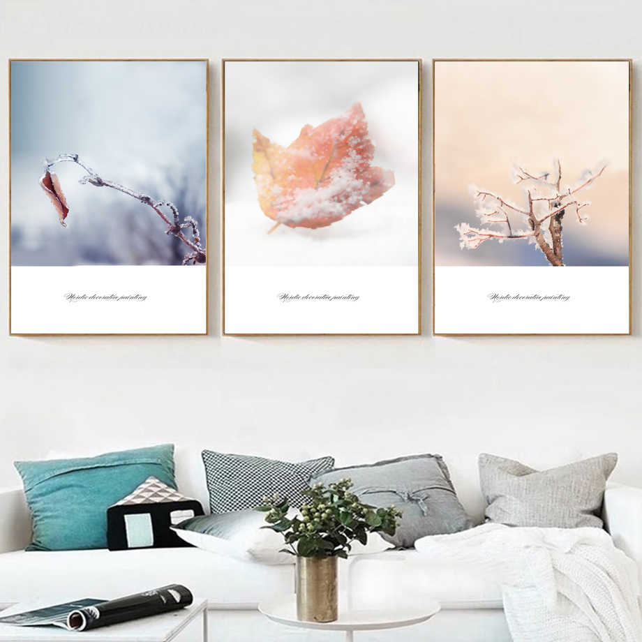Winter Leaf Branch Snow Ice Wall Art Canvas Painting Nordic Posters And Prints Scandinavian Pictures For Living Room Decor