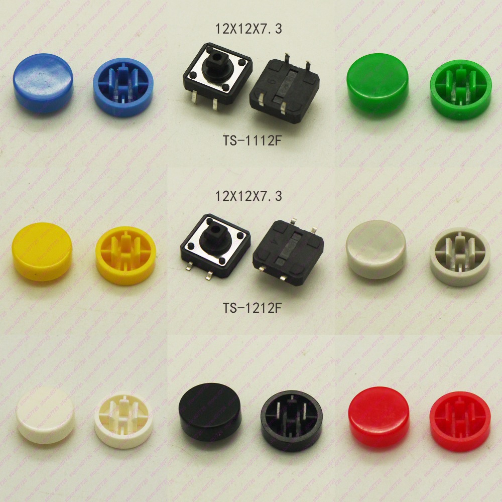 10PCS 12X12mm H=9.8MM With Round Cap Momentary Tactile Button 4PIN SMT/DIP Tact switch Push Button Switch Micro Key Button 50pcs micro push button 3x4x2 5 4feet u type smt tact button switch mounting for car system cigarette tool