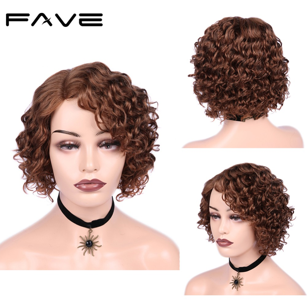 Bob Lace Front Human Hair Wigs Brazilian Remy Short Afro Curly Side Part Glueless Wig for