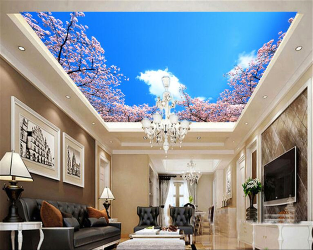 beibehang Custom ceiling mural wallpaper blue sky white clouds cherry living room room ceiling roof 3D wallpaper papel de parede children room blue sky ceiling wallpaper white clouds wallpaper for kids bedroom blue sky and white clouds wallpaper paper roll