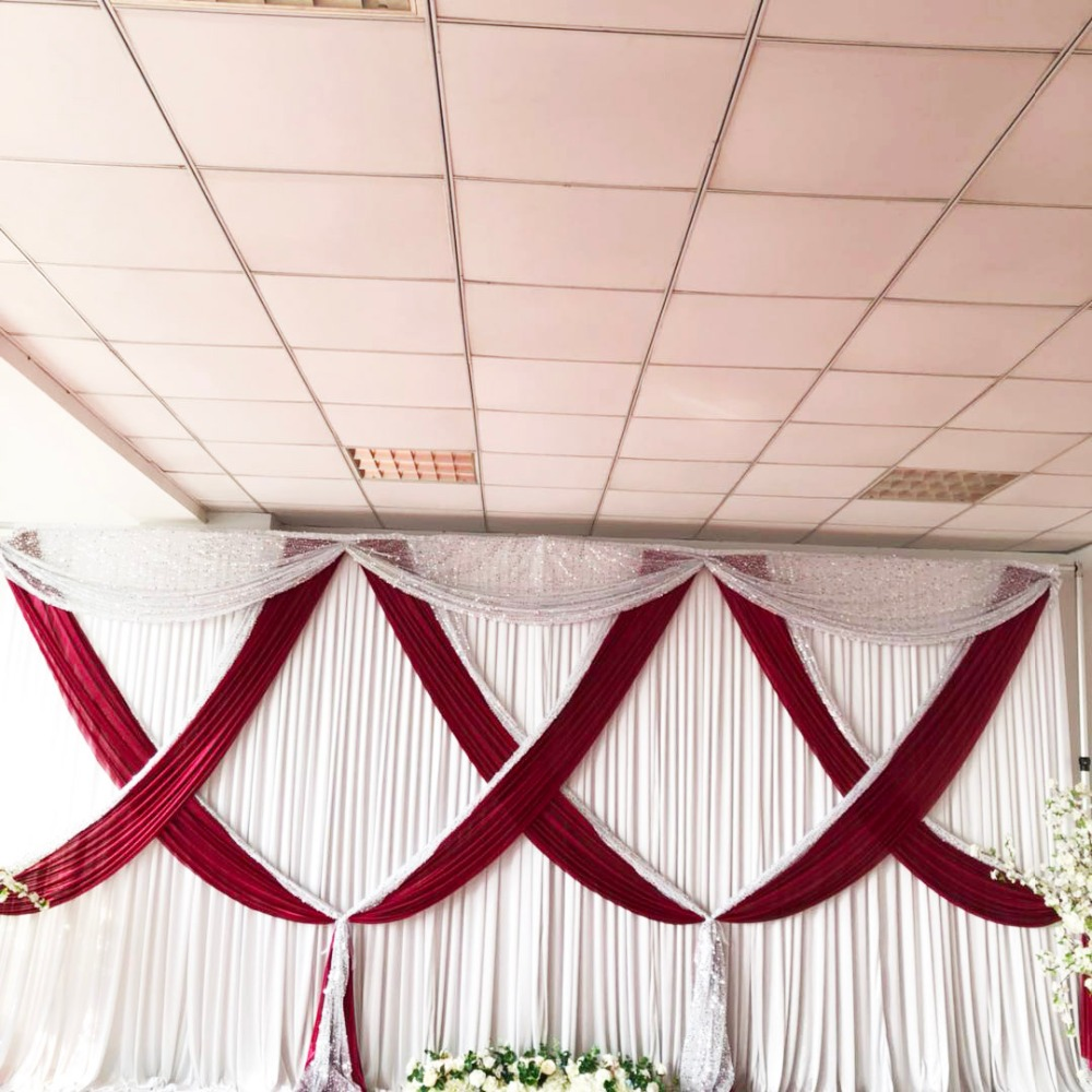 White Wedding Backdrop Burgundy Ice Silk and Silver SequinMixed Swag ...
