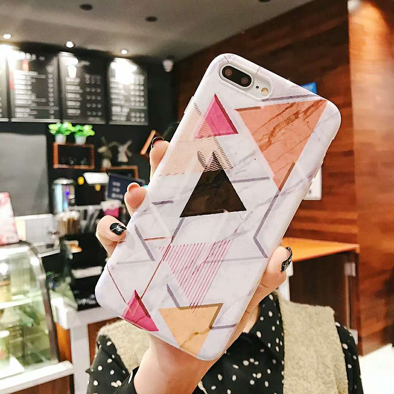 Geometric Marble Pattern Kickstand Phone Case For iPhone XS Max XR X 6 6S 7 8 Plus Fashion IMD Soft Protective Back Cover Coque (19)