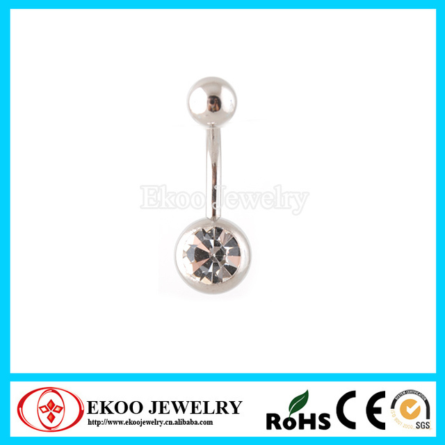 Us 4 8 Banana With One Small Bottom Gem Ball Belly Ring 14 Gauge On Aliexpress Com Alibaba Group