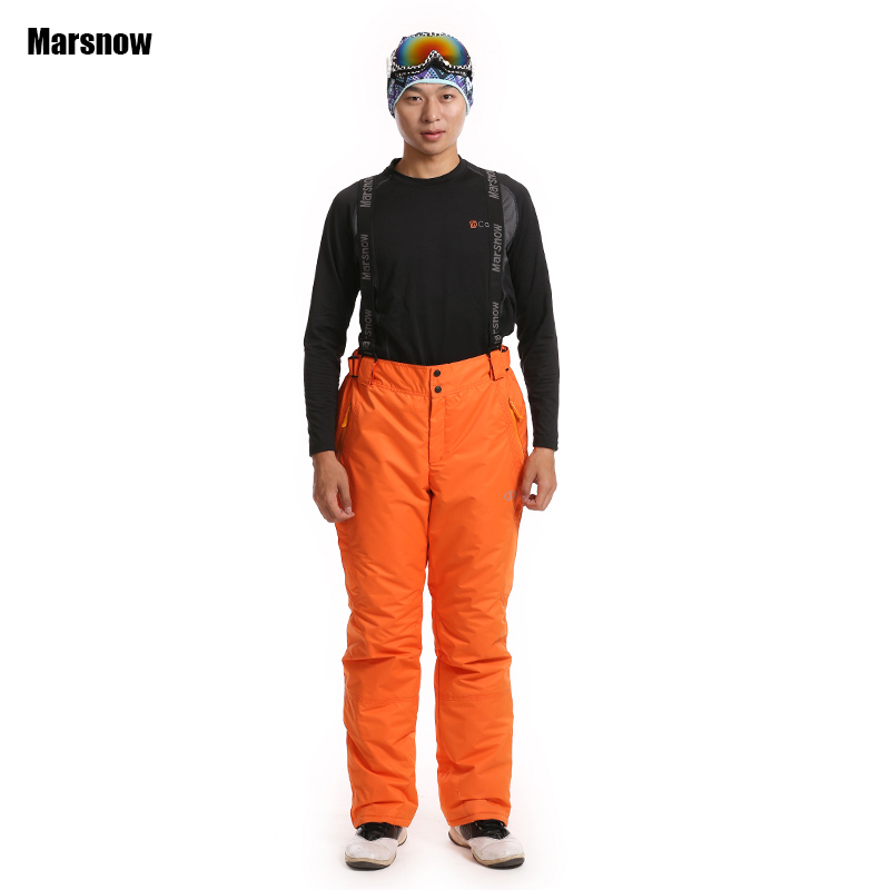 Dropshipping Winter outdoor ski pants popular in Russian Thermal Windproof Suspenders snowboarding trousers men waterproof