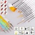 20 Pcs Nail Art Design Grupo Dotting Pintura Desenho Polonês Pen Escova Escovas Ferramentas