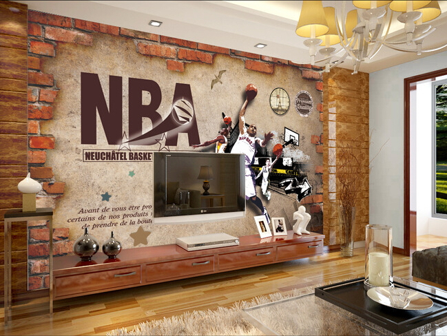 Online kopen wholesale muurschilderingen behang basketbal for Basketball mural wallpaper