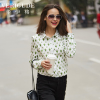 Veri Gude Women S Summer Blouse Green Plant Print Cotton Shirts For Work Fashion Casual Tops