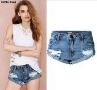 Estate Annata Blu Sexy Strappato Pantaloncini Femme Distressed Denim Shorts Brevi Jeans Delle Donne pantalon corto mujer