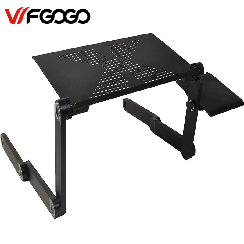 WFGOGO Computer Desks Portable Adjustable Foldable Laptop Notebook Lap PC Folding Desk Table Vented Stand Bed Tray