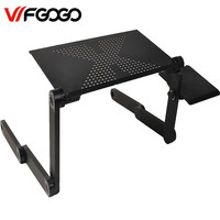 WFGOGO Computer Desks Portable Adjustable Foldable Laptop Notebook Lap PC Folding Desk Table Vented Stand Bed