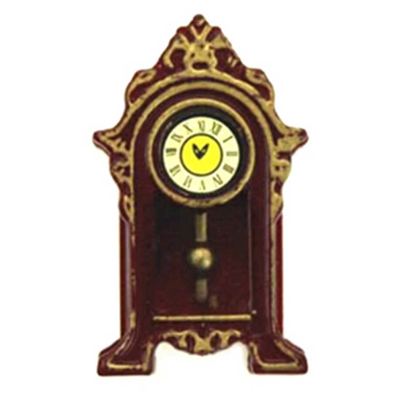 1/12 Mini Wooden Pendulum Clock Dollhouse Miniature Accessories Simulation Furniture Model Toys for Doll House Decoration