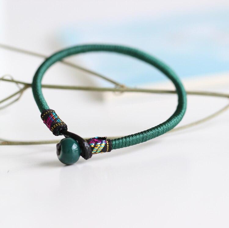 Handmade Ethnic Ceramic Bracelets for Women Fashion Rope Chain Bangle Girl s Gift Red Lucky Bracelet