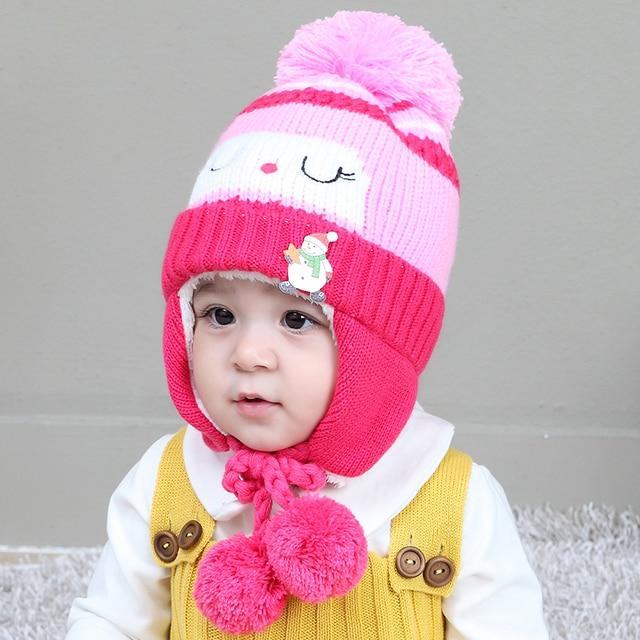 2018 Baby Kint Hat Korean New Unisex Baby Boy Girl Children pompom Ball Knit  Sweater Cap Winter Star Hats Beanies Accessories d8de5a5e7bdf