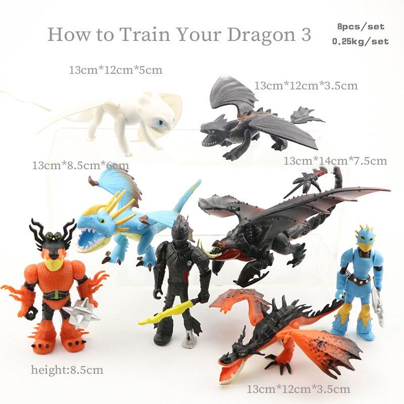 3 8 pçs/set Como treinar O Seu Dragão Desdentado Fúria Action figure Modelo boneca Luz/Fúria Da Noite Coleção Decora brinquedos Para As Crianças