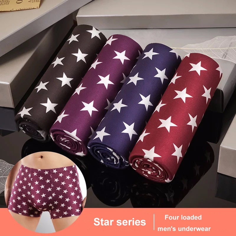 SUABO Men Boxer Briefs Polyester Underwear Men 2 Pack Boxer Briefs with Piggy Bank Pattern