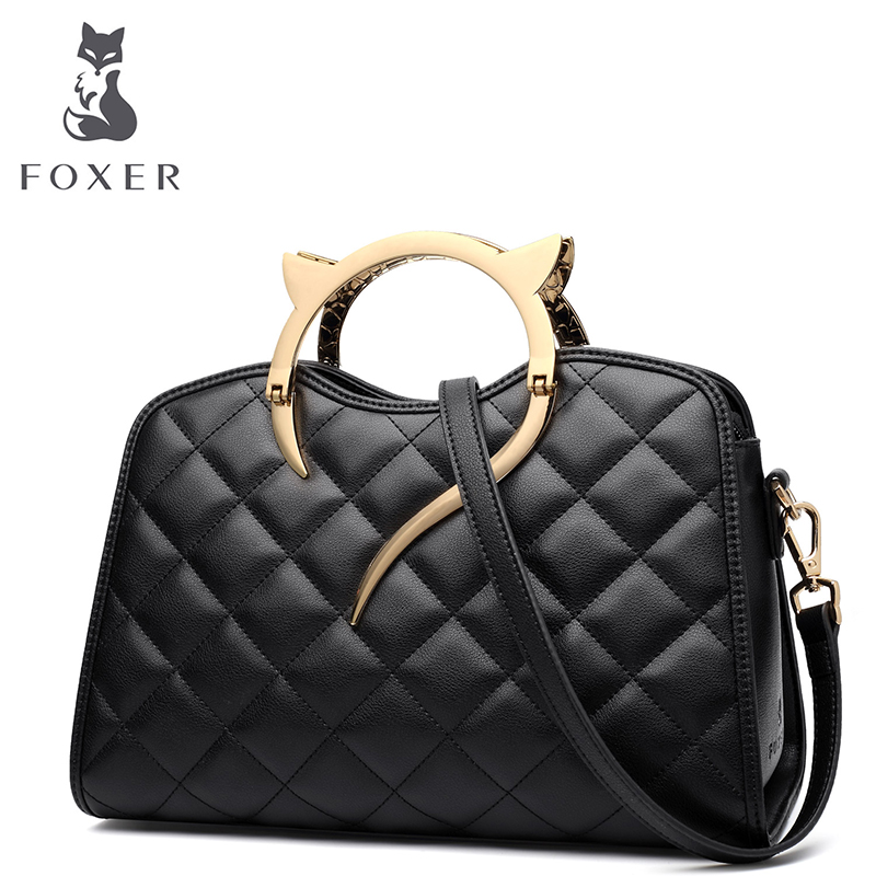 FOXER Brand Women Leather Handbags & Crossbody Bags New Trend Qulited Shoulder Bags Women Fashion bags