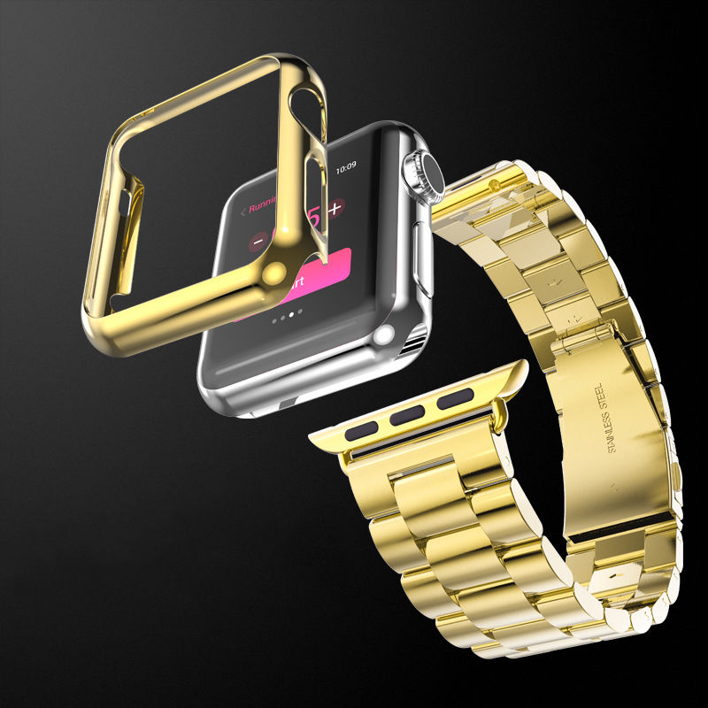on sale 90b66 6ccc5 US $5.85 18% OFF|Gold Plating Bumper Case Protective Cover & Classic  Stainless Steel Bracelet Watch Band for Apple Watch iWatch 1st Strap  42/38MM-in ...
