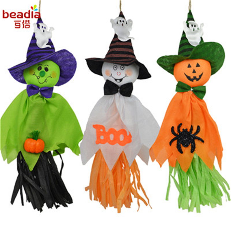 1pc 36x17cm Cute Halloween Ghost Hanging Hangtag Kids Toys Funny Joking Props Festival Party Decoration Supplies