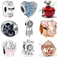 European Small Statement Crystal Love Heart Ferris Wheel Rabbit Charm Beads Fit Pandora Bangles for Women Making Jewelry Colares(China)