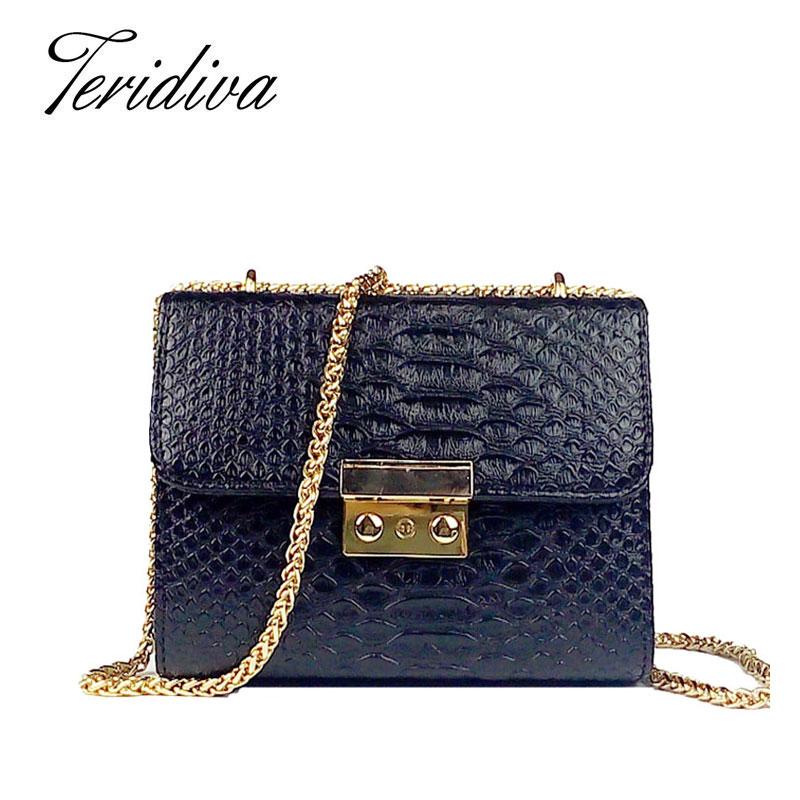 Prix pour Teridiva designer sacs célèbre marque femmes sac femmes mini sacs à bandoulière crocodile sac à main en cuir pu sac femme messenger sac à main