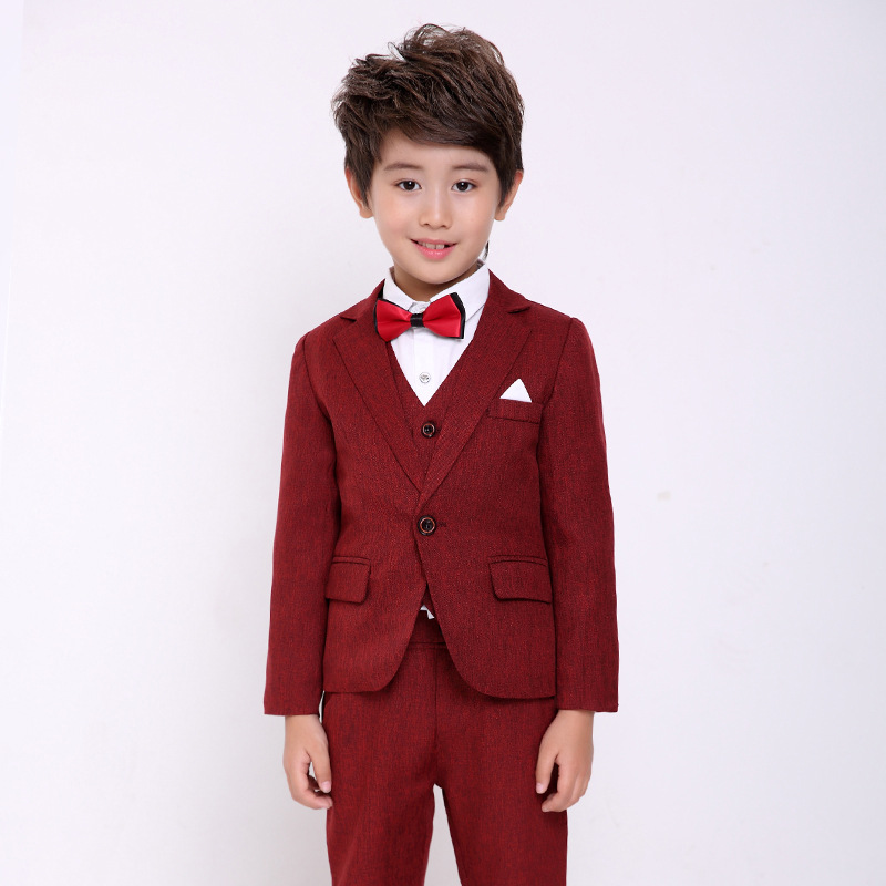 Flowers Boys Formal Suit Wedding Birthday Party Dress Kids Blazer Shirt Vest Pants Tuxedo Children Prom Performance Costume F73 winter children boys formal sets 5 pcs woolen blend coat pants vest shirt tie costume wedding birthday party gentleman boy suit