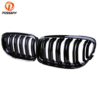 POSSBAY Gloss Black M3 Look Double Line Front Bumper Kidney Grille for BMW 3 Series E90 Sedan 2008 2011 Facelift Racing Grills