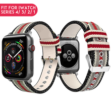 Laforuta Nylon Band for Apple Watch 40mm 44mm Series 4 iWatch Leather Braclet 38mm 42mm Series 3 2 1 Watch Replacement Strap leather band for apple watch 40mm 44mm series 4 high quality mixed color replacement strap for iwatch series 1&2&3 38mm 42mm