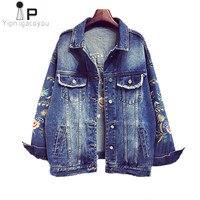 Vintage Short Denim Jacket Women Coat Autumn 2018 Harajuku Female Plus Size Embroidery Jacket Jeans Women Clothes Streetwear 5XL