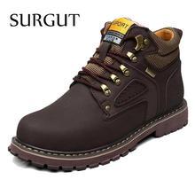 SURGUT Marke Super Warm herren Winter Leder Männer Wasserdichte Gummi schnee Stiefel Freizeit Stiefel England Retro Schuhe Für Männer Big größe