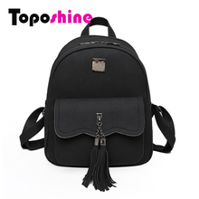 Toposhine 2016 Winter New Double Tassel Women Backpacks Fashion PU Leather Lady Backpack Quality Fashion Girls School Bag 1588