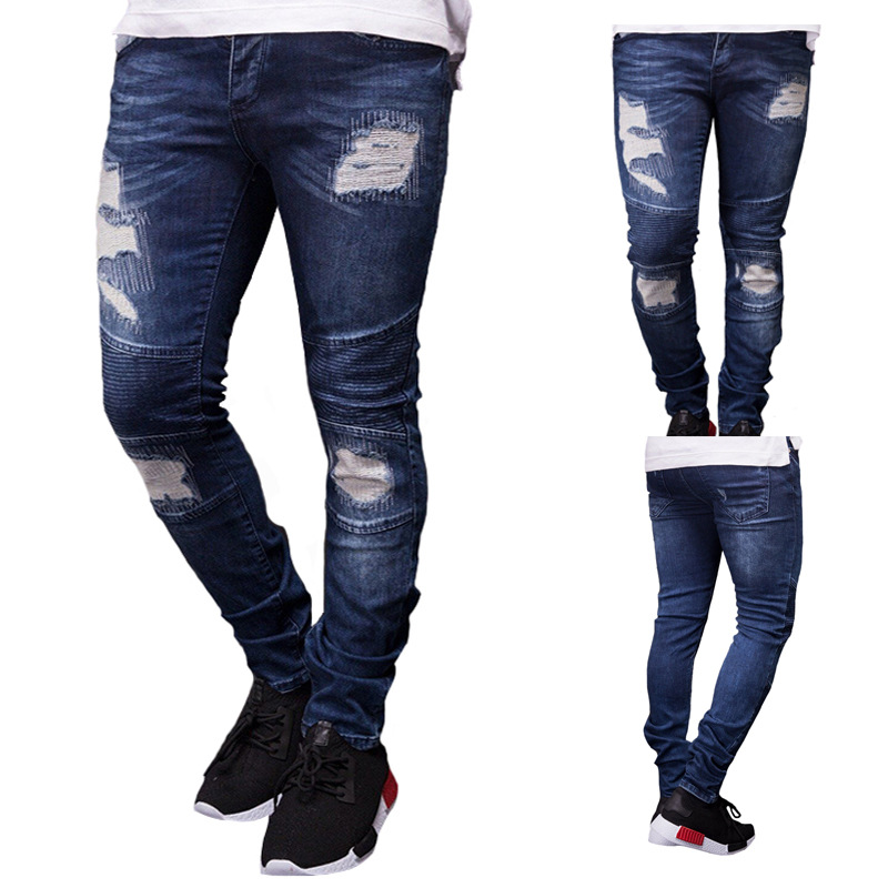 2019 New Fashion Mens Solid Color Skinny   Jeans   Slim Fit Pencil Pants Sexy Casual Hole Ripped Design Streetwear