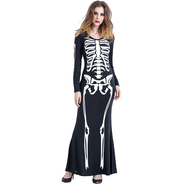 2017 Creative Devil Evil Skull Skeleton Printing Long Dress Cosplay Costume For Halloween Party Festival Dresses  sc 1 st  AliExpress.com : creative plus size halloween costumes  - Germanpascual.Com