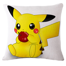 Cartoon Vintage Home Decor Pokemon Pikachu Cotton Linen Decorative Pillows Throw Case Cushion Cover For Car Sofa Seat Pouf b101