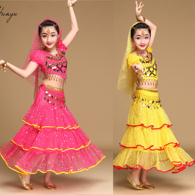 bb1611b60 Kids Belly Dance Costumes Girls Bollywood Dancing clothes Set Indian ...