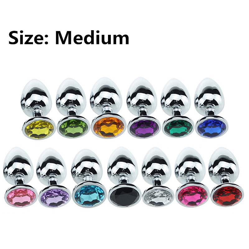 Medium size stainless steel anal plug Crystal Jewelry Round Butt Plug Stimulator <font><b>Sex</b></font> <font><b>Toys</b></font> Dildo Anal Plug For Adult Game image