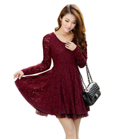 Hot Sale Women Tunic Slim Lace Red Dress 4xl Long Sleeve Hollow Out Plus Size Spring