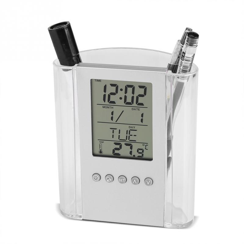 Soft And Antislippery not Battery Multifunctional Pen Pencil Holder Digital Desk Alarm Clock Calendar Temperature Timer