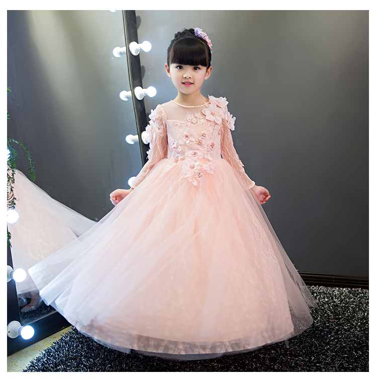 2018 spring girl formal tulle dress fancy bridesmaid flower girl dress fluffy ball gown birthday evening prom tutu party frocks