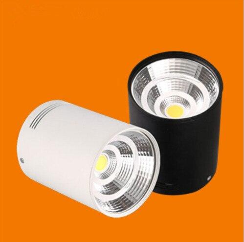 Doprava zdarma 15W stmívatelný povrchový teplý studený bílý LED downlight s bílou / stříbrnou / černou skořepinou COB LED světla