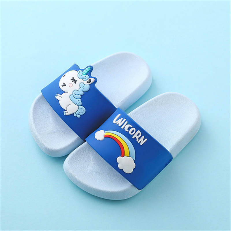 Unicorn slippers for toddler boy girl rainbow jelly sandals 2020 summer toddler kids indoor baby slippers pvc cartoon kids slippers