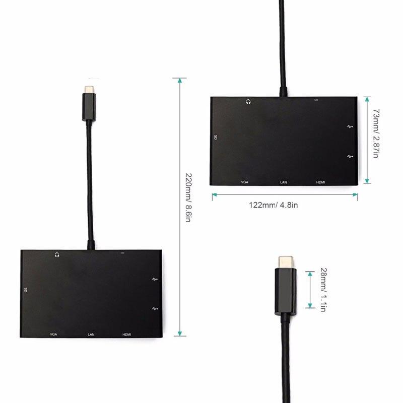 EASYA USB 3,1 tipo-C HDMI VGA RJ45 Gigabit Ethernet adaptador USB-C con la policía de tarjeta SD ranura + puerto de Audio de 3,5mm para Macbook Pro - 5